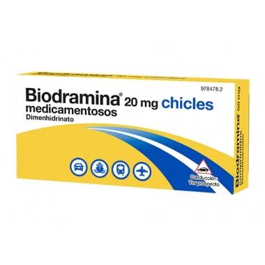 BIODRAMINA 20 MG CHICLES MEDICAMENTOSOS , 12 CHICLES
